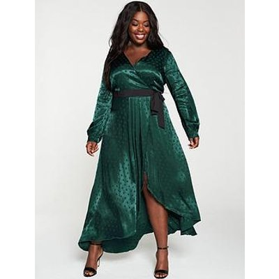 Little Mistress Curve Polka Dot Asymmetric Maxi Wrap Dress - Green