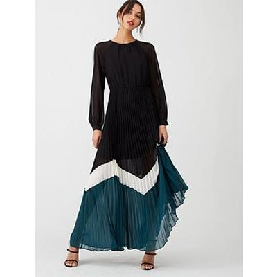 V By Very Colour Block Pleated Maxi Dress - Multi