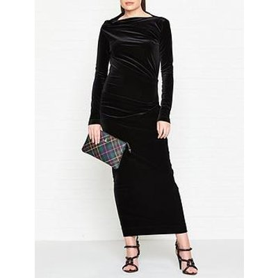 Vivienne Westwood Anglomania Taxa Velvet Long Sleeve Maxi Dress - Black