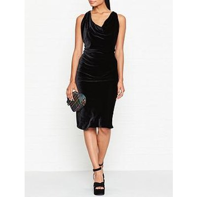 Vivienne Westwood Anglomania Virginia Velvet Cowl Neck Dress - Black