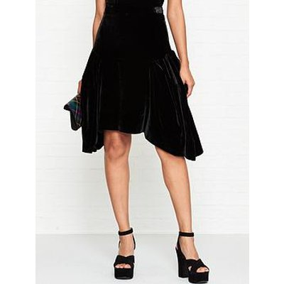 Vivienne Westwood Anglomania Violet Velvet Midi Skirt - Black