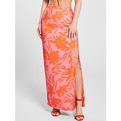 Kate Wright Neon Print Side Split Maxi Skirt - Floral Print