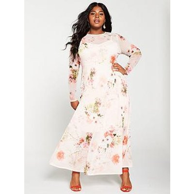 V By Very Curve Floral Mesh Print Maxi Dress - Floral Print