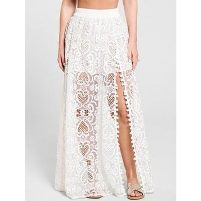 Kate Wright Lace Side Split Maxi Skirt - White