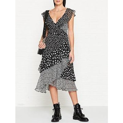 Allsaints Kari Scatter Floral Print Wrap Dress - Black