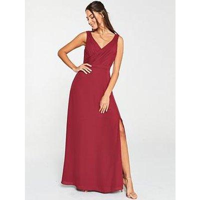 V By Very Pleated Bust Maxi Dress- Burgundy
