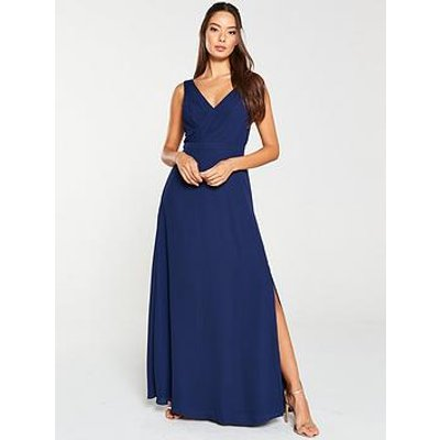 V By Very Pleated Bust Maxi Dress - Navy