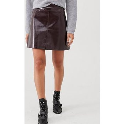 Whistles Patent A Line Skirt - Burgundy