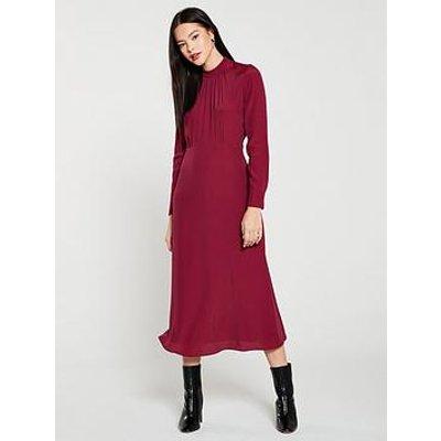 Whistles Ruby High Neck Midi Dress - Burgundy