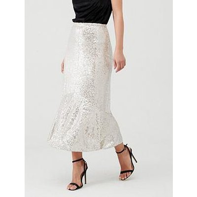 Whistles Sequin Skirt - Silver