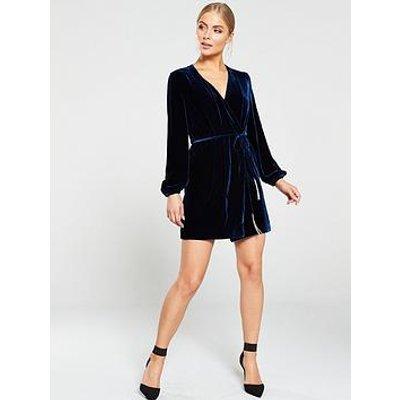 Whistles Lavone Silk Mix Velvet Wrap Dress - Dark Blue
