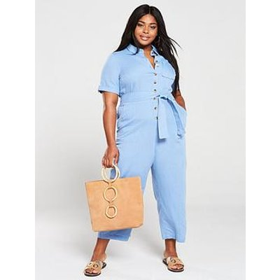 Monsoon Curve Billie Linen Jumpsuit - Blue
