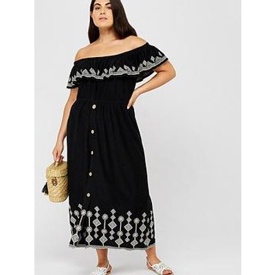 Monsoon Curve Cora Embroidered Jersey Dress - Black