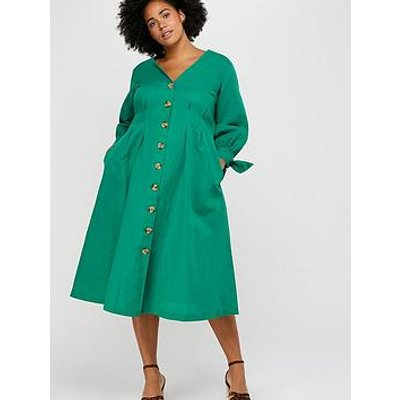 Monsoon Curve Monsoon Curve Molly Linen Midi Button Dress