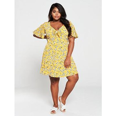 Oasis Curve Daisy Knot Front Sundress - Yellow