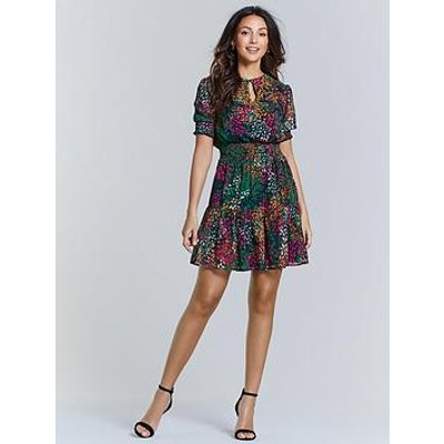 Michelle Keegan Shirred Waist Tea Dress - Animal Print