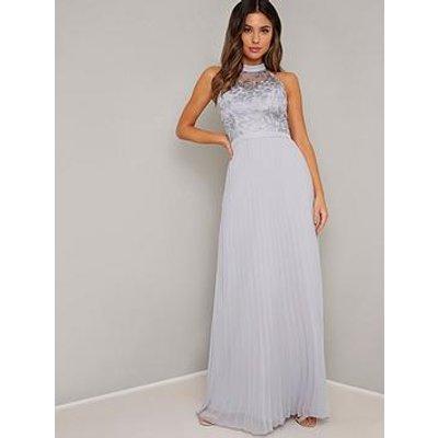 Chi Chi London Eula High Neck Maxi Dress - Blue