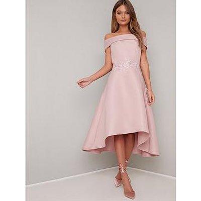 Chi Chi London Evelyn Bardot Dress - Pink