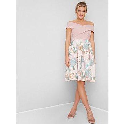 Chi Chi London Briley Bardot Dress - Pink