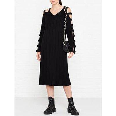 Mcq Alexander Mcqueen Cut Out Sleeve Wool Dress - Black