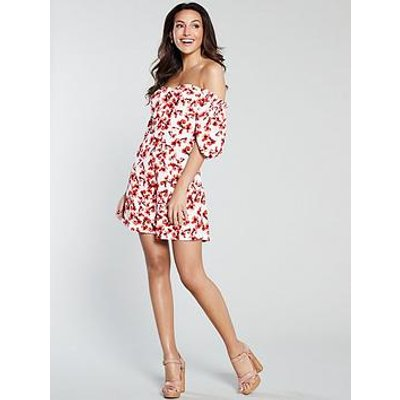 Michelle Keegan Button Front Printed Tea Dress - Red Floral