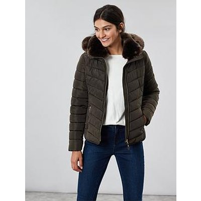 Joules Gosway Padded Luxe Faux Fur Jacket - Green