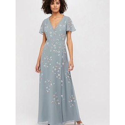 Monsoon Ally Embellished Wrap Maxi Dress