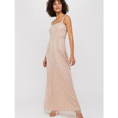 Monsoon Lori Linear Embellished Maxi Dress - Blush