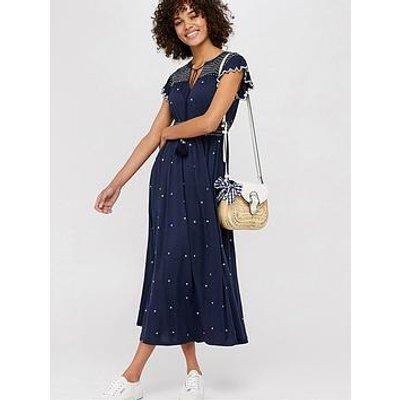Monsoon Jo Jersey Embroidered Midi Dress
