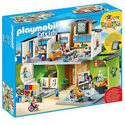 Playmobil Playmobil 9453 City Life Furnished School Building With Digital Clock