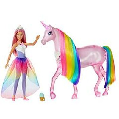 Barbie Magical Lights Unicorn With Princess Doll