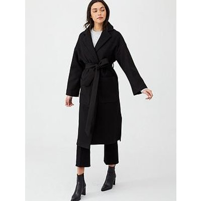 V By Very Belted Wrap Coat - Black