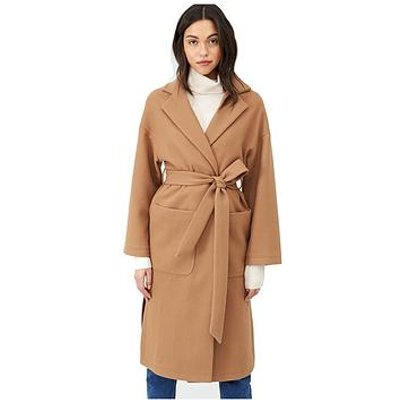 V By Very Belted Wrap Coat - Camel