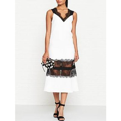 Outline Isla Lace Midi Dress - Ivory/Black