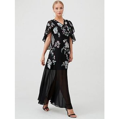 V By Very Cape Embellished Maxi Dress - Black/Multi