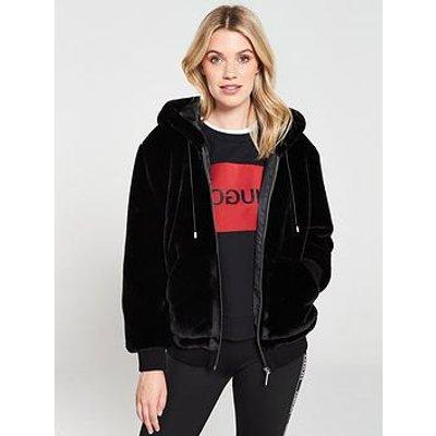 Hugo Faux Fur Bomber Jacket - Black