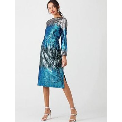 V By Very Ombre Sequin Dress - Silver