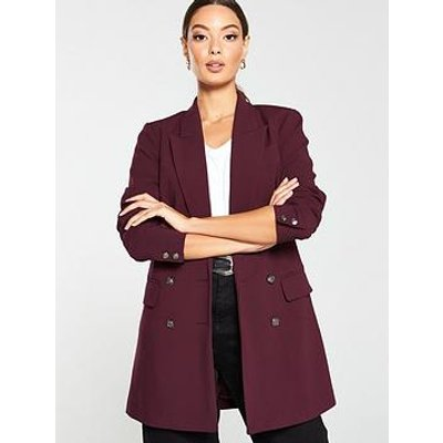 V By Very Longline Military Jacket - Berry