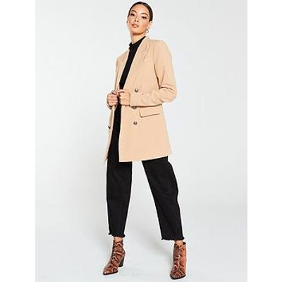 V By Very Longline Military Jacket - Camel