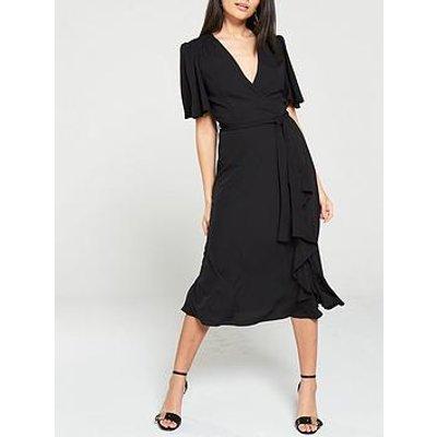 V By Very Vienna Wrap Frill Midi Dress - Black