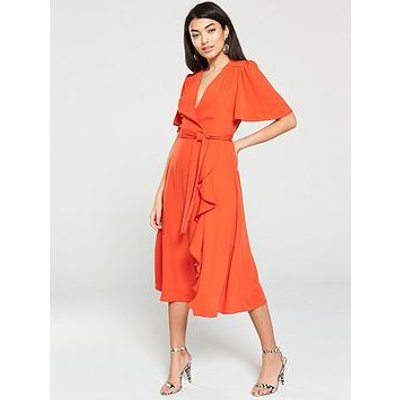 V By Very Vienna Wrap Frill Midi Dress - Orange