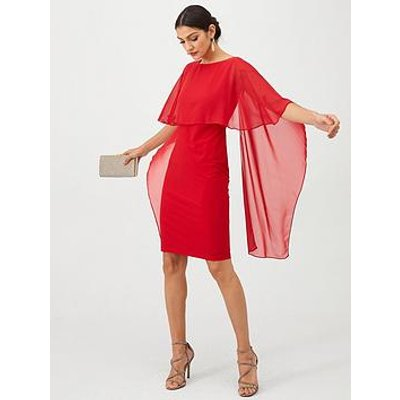 Gina Bacconi Cape Sleeve Dress - Red