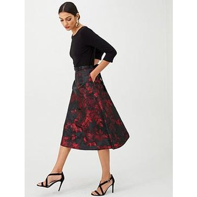 Gina Bacconi Floral Full Skirt Dress - Red
