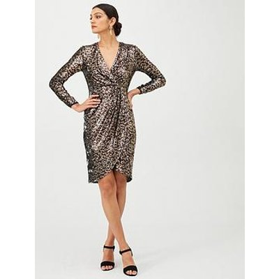Gina Bacconi Leopard Sequin Long Sleeve Dress - Brown/Gold