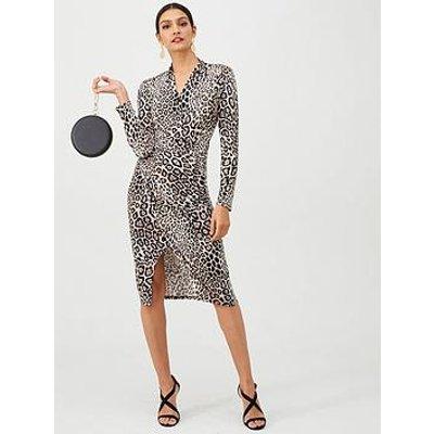 Gina Bacconi Animal Print Wrap Dress - Black/Leopard