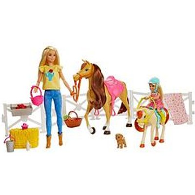 Barbie Hugs 'N' Horses Playset With Barbie And Chelsea Blonde Dolls, 2 Horses With Bobbling Heads And 15+ Toy Accessories