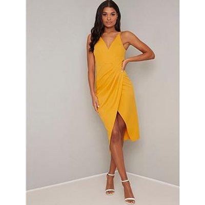 Chi Chi London Wrap Naima Midi Dress - Mustard