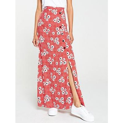 V By Very Spun Viscose Floral And Polka Maxi Skirt - Printed