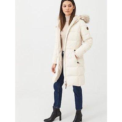 Lauren By Ralph Lauren Faux Fur Trim Hooded Padded Down Coat - Moda Cream
