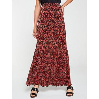 V By Very Plisse Printed Maxi Skirt - Red